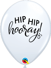 Simply Hip Hip Hooray Balloons (White) - 11 Inch Balloons 25pcs
